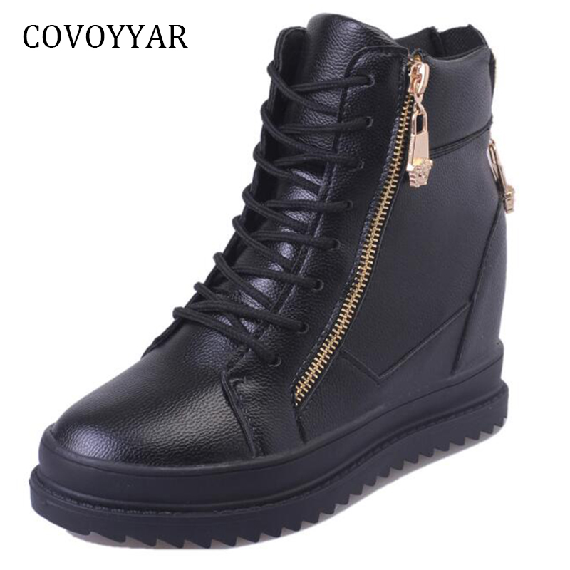 COVOYYAR 2019 Hidden Heel Women's Sneakers Spring Autumn Fashion High Top Casual Shoes Zipper Women White Black Shoes WSN672