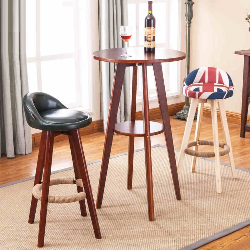 Mediterranean Style Bar Chairs Office Counter Wood Stool