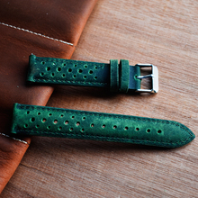 Onthelevel Handmade Watchband Vintage Hollow Design Genuine Leather Watch Strap Green Replacement Band 18mm 20mm 22mm 24mm KZH04