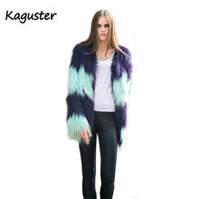 Winter Warm Faux Fur Coat Women Vintage Elegant Fluffy Long Sleeve Jacket tops fashion soft outwear free shipping