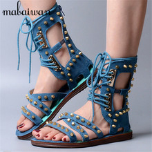 2017 New Genuine Leather Gladiator Sandals Rivets Lace Up Flats Summer Boots Rome Punk Style Casual Flat Shoes Woman