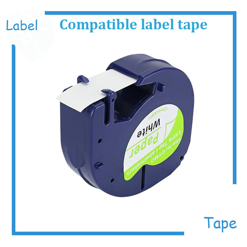 Self-Adhesive LetraTag Label Tape Compatible for DYMO (<font><b>10697</b></font> 91200 91220 91330 59421) Paper Black on White 12 mm x4 m, 1/2 inch image