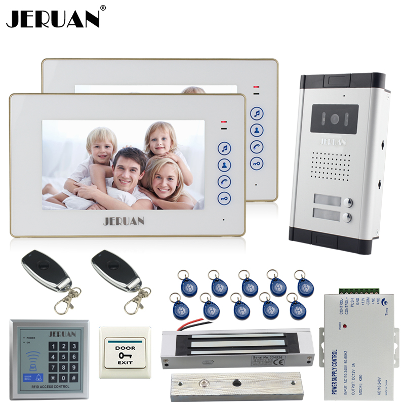 JERUAN Apartment 7`` Video Door Phone Intercom System kit 2 Touch key Monitor 1 HD Camera RFID Access Control For 2 Household jeruan new apartment 7 inch touch key video intercom door phone system 2 white monitor 1 hd ir camera for 2 household