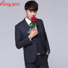 Males Enterprise Go well with Units Tuxedo Formal Style Slim Match Grid Fits Blazer Model Get together Masculino Fits Set (Jacket+Pant+Tie)
