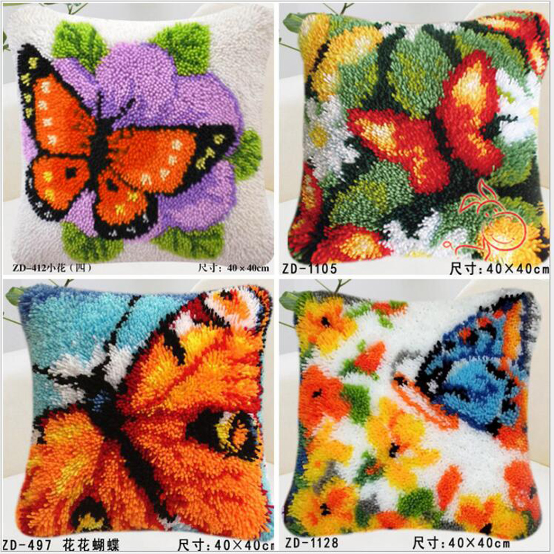 cross stitch pillow  / Placemats do it yourself method of needlework kit latch hook rug kit   / embroidered carpet butterflycross stitch pillow  / Placemats do it yourself method of needlework kit latch hook rug kit   / embroidered carpet butterfly