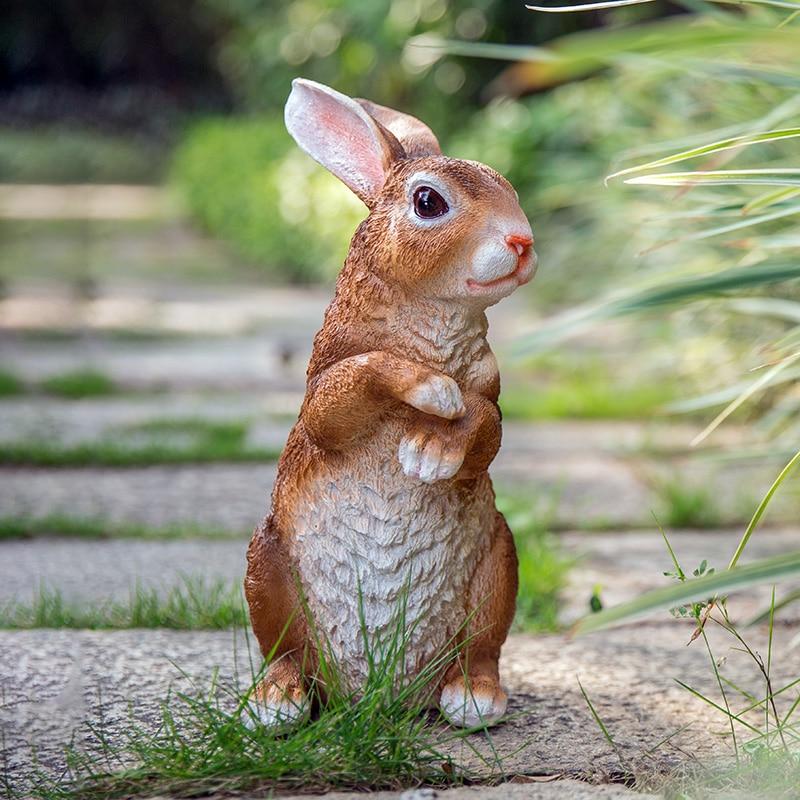Garden Rabbit Statue Hang On Fence Bunny Figurine Yard Lawn Ornament Hanging