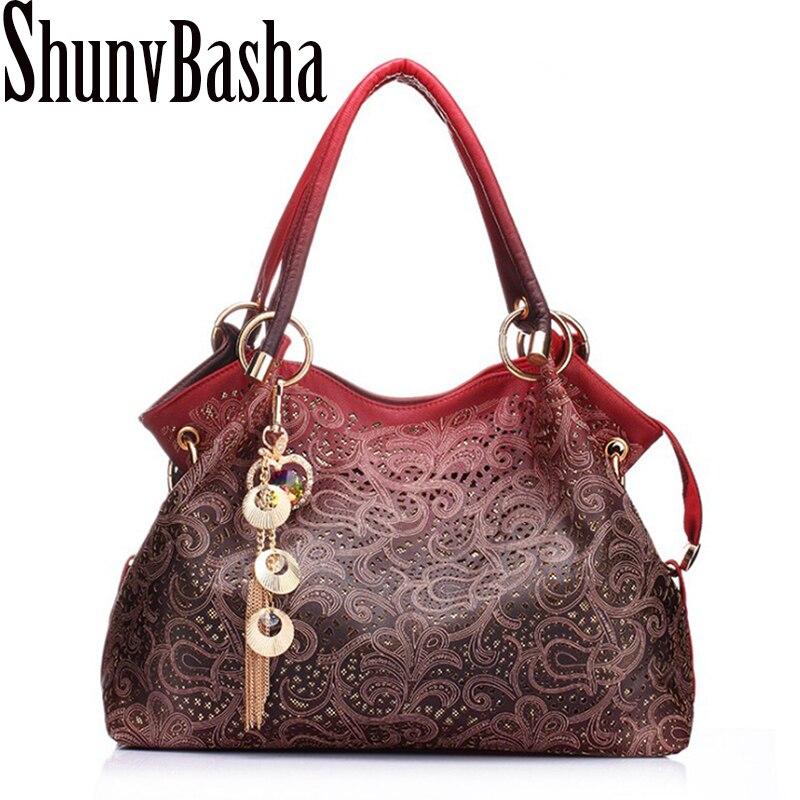 ShunvBasha Hollow Out Large Leather Tote Bag 2017 Luxury Women <font><b>Shoulder</b></font> bags, Fashion Women Bag Brand Handbag Bolsa Feminina