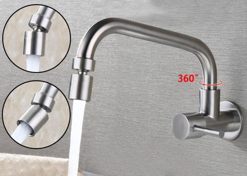Free shipping stainless steel wall Mount One Handle One Hole Pot Filler Faucet Only Cold Water With Lever Handles and a Swivel