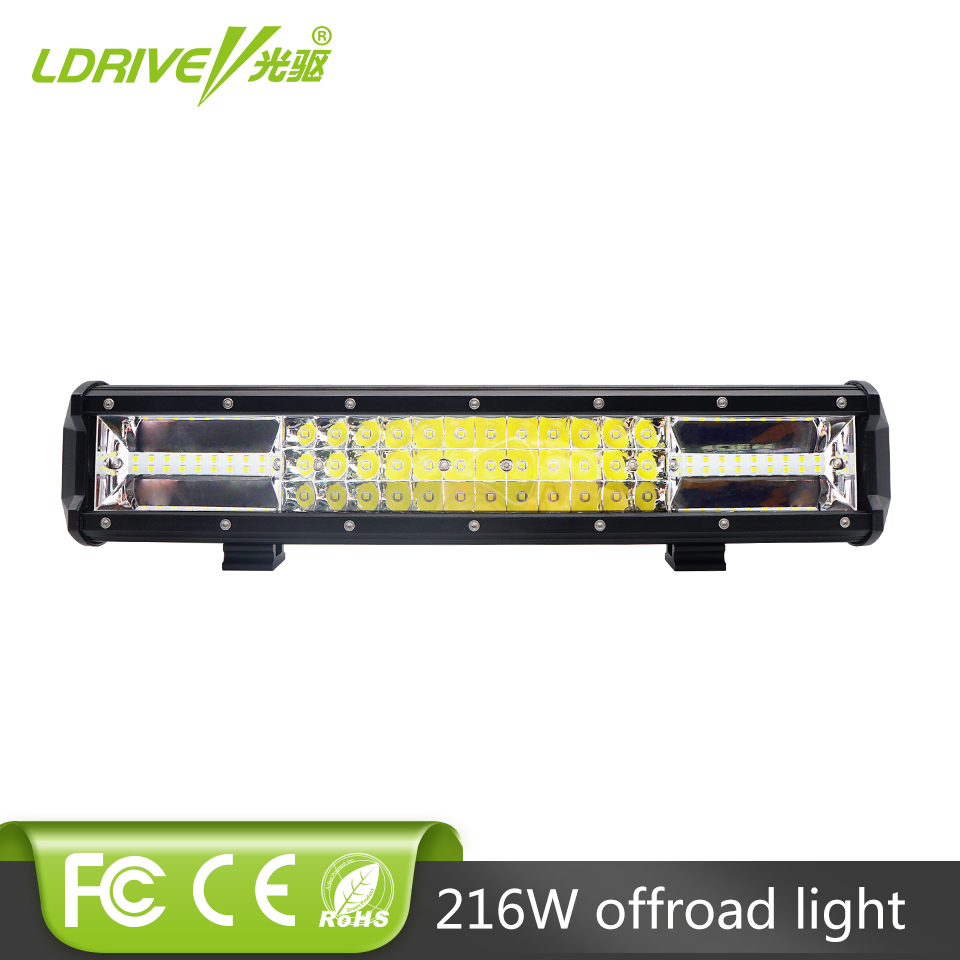 LDRIVE Tri-row 16 Inch 216W CREE Chips LED Work Light Bar Offroad Driving Lamp Combo Beam For Jeep Truck SUV ATV 4x4 4WD 12V 24V weisiji 1pcs tri row 252w led light bar with high intensity chips 17inch offroad work light for jeep ford truck ship suv atv utv