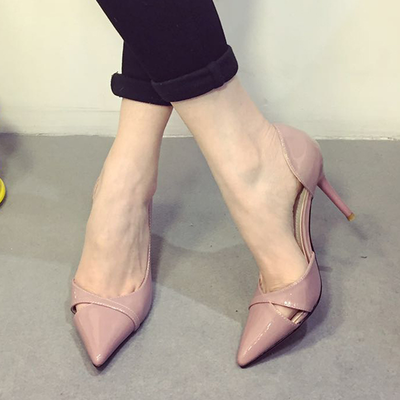 Trendy Sexy Pointed Toe Thin Heels Woman Shallow Mouth High Heel Shoes Pumps Summer Sandals