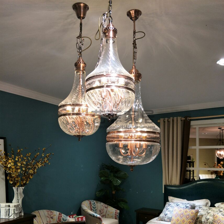 American classical Nordic retro glass  pendant light bedroom restaurant dining room hanging light E27
