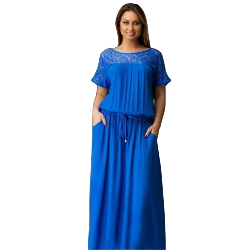 2017 Vintage Women Floral Lace Summer Autumn Plus Big Sizes L-6XL Short Sleeve blue brief sashes Maxi Jumpdress Vestidos