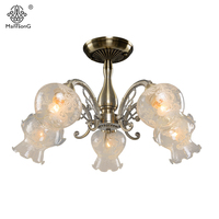 Luxury Flower Modern Ceiling Light With Glass Lampshade Vintage Ceiling Lamp For Living Room Bedroom Indoor