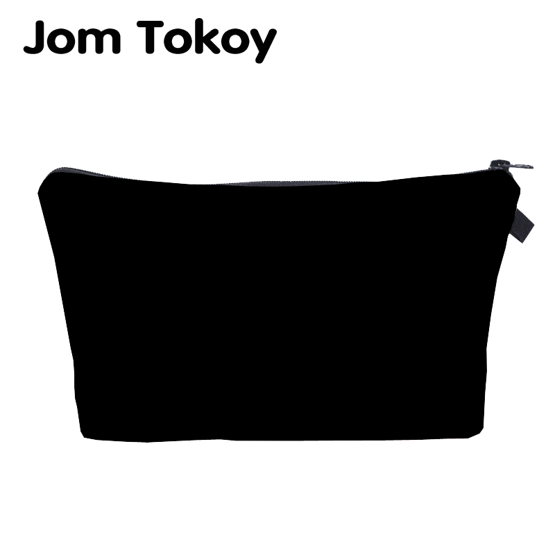 Jom Tokoy Cosmetic Organizer Bag Pure Black Cosmetic Bag Fashion Women Brand Makeup Bag