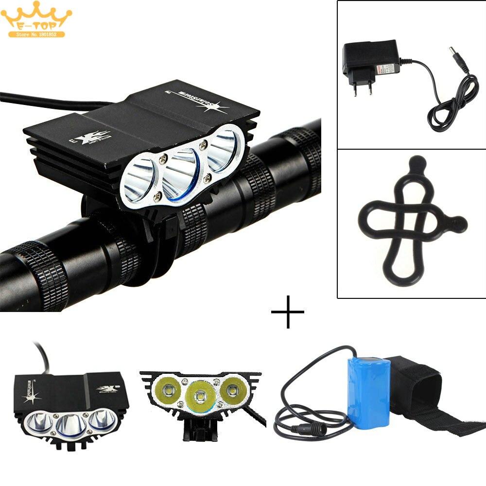Цена за Solarstorm Открытый Велоспорт 7500LM велосипед свет 3x T6 LED 4 Mode велосипед передний свет + 4400 мАч Аккумулятор и Зарядное Устройство