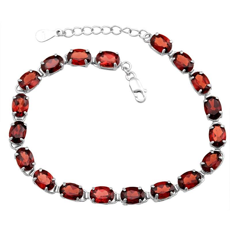 Bracelet grenat naturel 925 en argent Sterling femme Fine élégante gemme rouge bijoux fille pierre de naissance Valentine cadeau ysb0017g