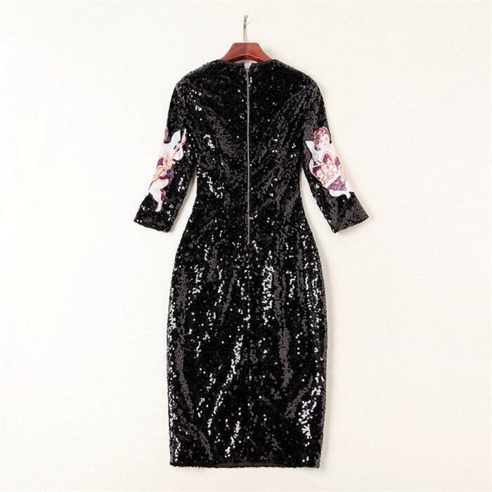 Robe Paillettes Noir Marque De Luxe Mode Bébé Manches Robes Trois Longueur Genou Imprimé Nouvelle 2018 Multi Femmes Automne Xl Trimestre Mince wgxC0nqIX
