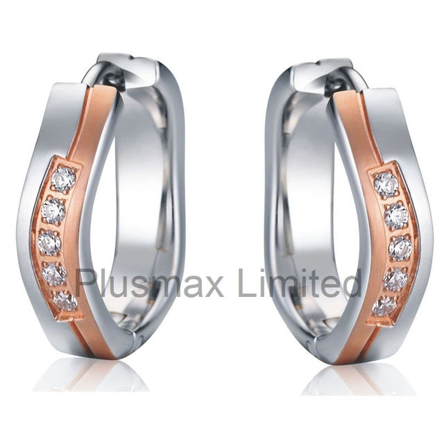 Antique rose gold plated small twisted hoop jewelry earrings set with CZ diamonds for wedding aretes