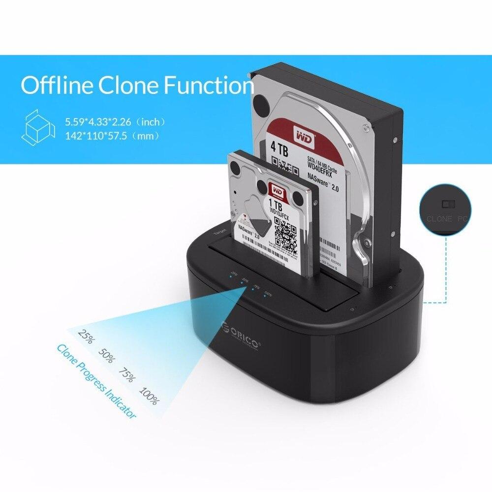 ORICO USB 3.0 à SATA Double-Bay Disque Dur Station D'accueil pour 2.5/3.5 pouce HDD/SSD avec Hors Ligne Clone Fonction [UASP Protocole] - 4