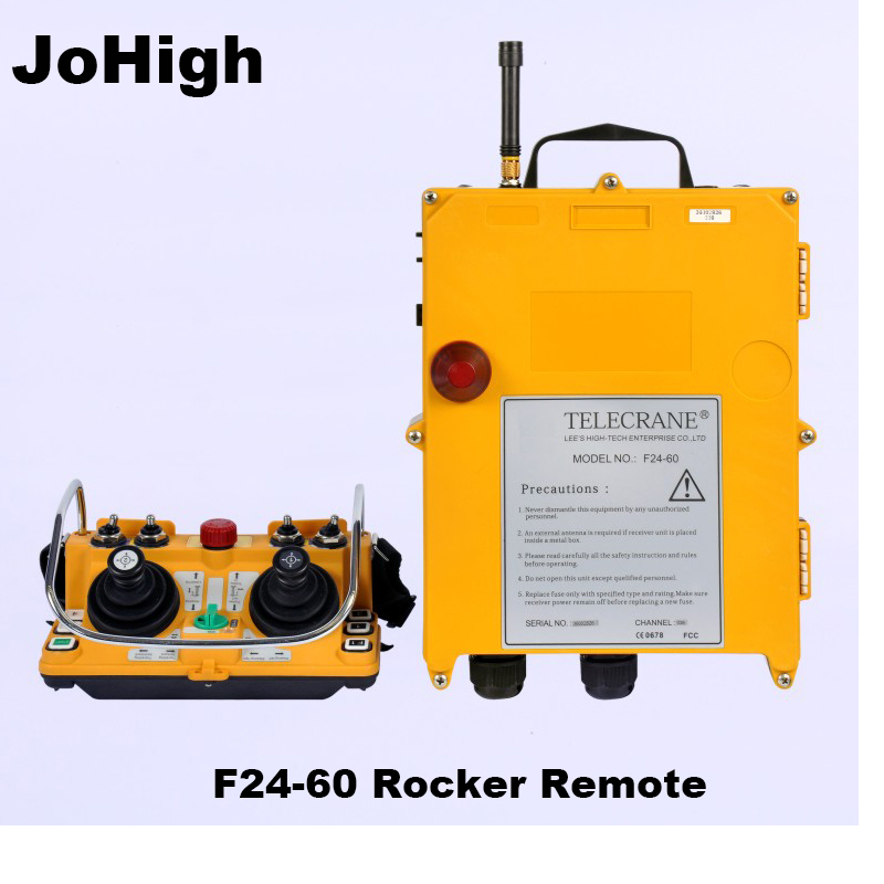 JoHigh Heavy Duty F24 60 Joystick Industrial Wireless Remote Controller1 Transmitter 1 Receiver