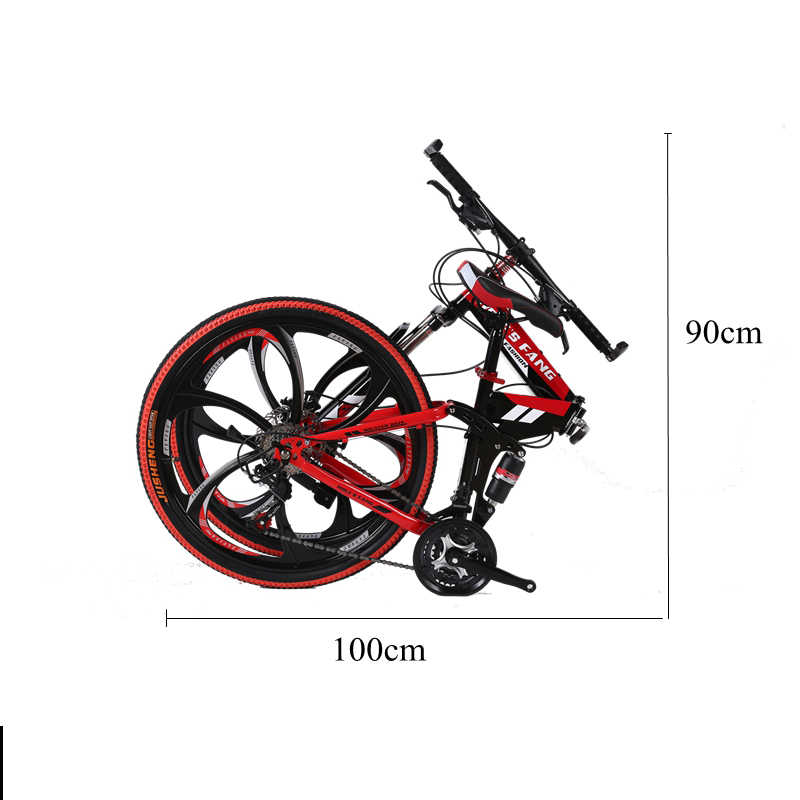 Wolf Fang Sepeda Gunung 21 Kecepatan 26 Inch Folding Bike Sepeda Jalan Unisex Penuh Shockproof Bingkai Sepeda Depan dan Belakang Mekanik