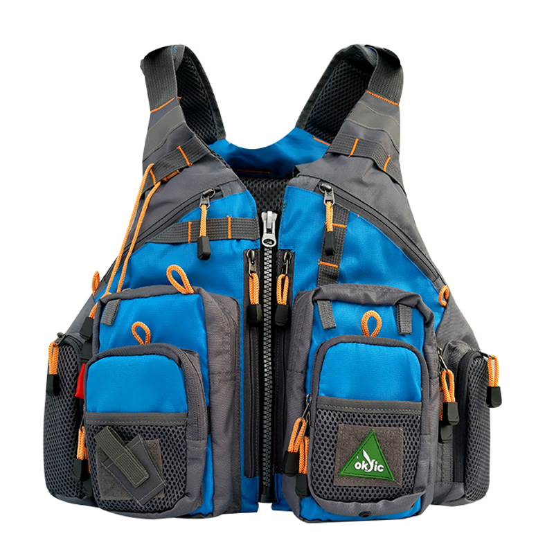 Men's Blue Fly Fishing Vest Life Safety Jacket Safety Waistcoat Inflatable Fishing Backpack