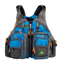 Men's Blue Fly Fishing Vest Life Safety Jacket Safety Waistcoat Inflatable Fishing Backpack(China)