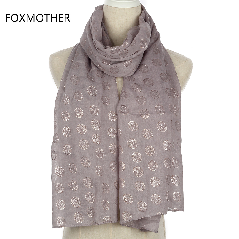 FOXMOTHER New Fashion Foil Gold Grey Dot Long Scarf Wrap For Womens