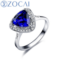 ZOCAI Design Ring Au750 18K white gold 1.9 CT certified Genuine Tanzanite ring with 0.16 ct diamond Gemstone ring W06176