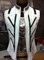 New style fashion vest male rhinestone beads singer dancer costume palace punk style jazz vest ds dj jacket