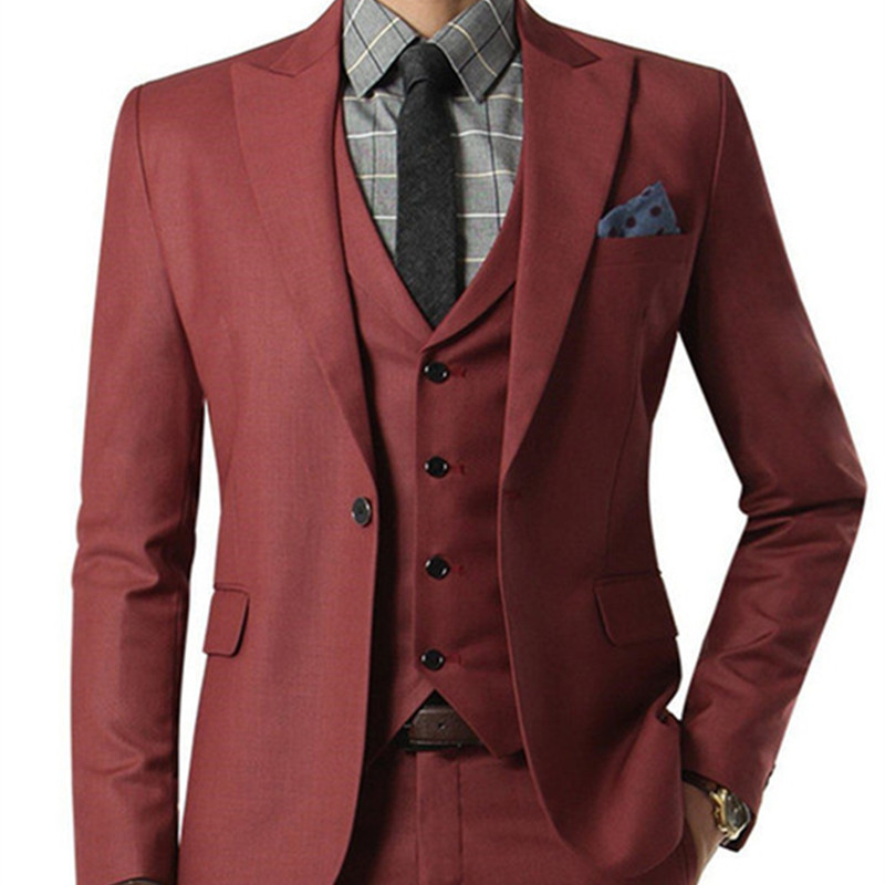 NoEnName_Null Wine red Suit Custom Made Wedding Suits With Pants Grooms Shawl Black Lapel Men suit Tuxedos ( jacket+Pants+vest)