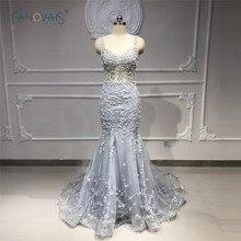 אלגנטי ערב שמלות ארוך אפור כחול Merimad לנשף שמלת 2019 תחרה חרוזים נצנצים שמלת המפלגה Vestido דה פיאסטה NE43