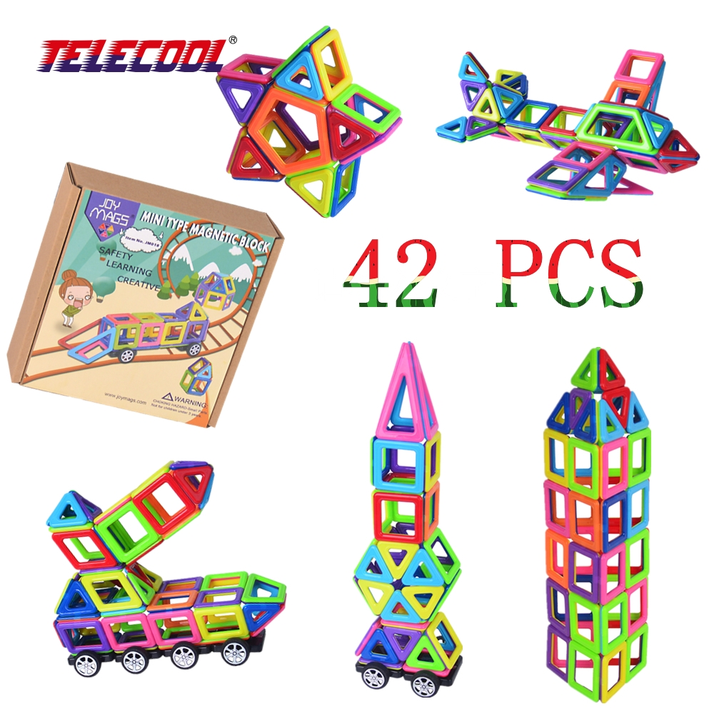 TELECOOL Mini 42/102 PCS/Set Solid Color Magnetic Models Building Blocks JOY MAGS Designer Brick Kits Toys With Original Box 150pcs joy mags brand magnetic tiles models blocks diy building toys inspire adult