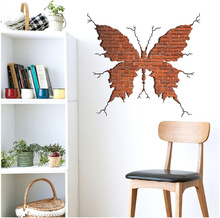 Butterfly Shape Broken Wall Brick Wall Stickers Living Room Bedroom Home  Decor Wall Decals Art Poster 3d Effect Decoration Part 65