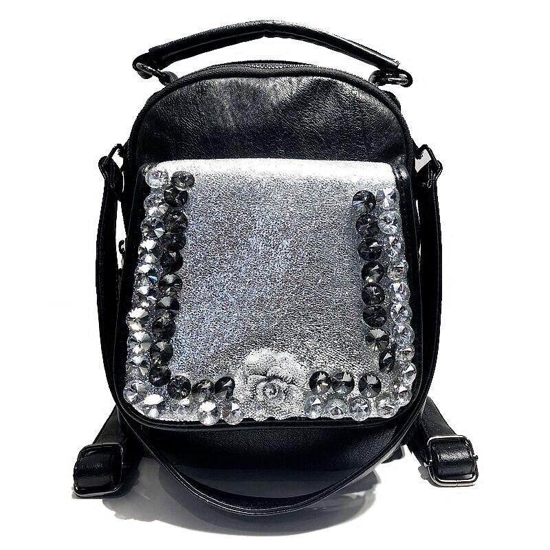 Diamant sac à dos sac à bandoulière 2018 femme nouvelle mode rock tendance sac de forage, unique épaule trois sangle femme diamants
