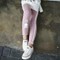 Cat Character Kids Skinny Full Length Black Pink Pencil Girls Leggings Girl Pants School 2017 Spring