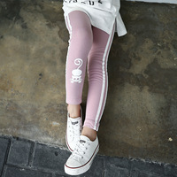 Cat Character Kids Skinny Full Length Black Pink Pencil Girls Leggings Girl Pants School 2017 Spring