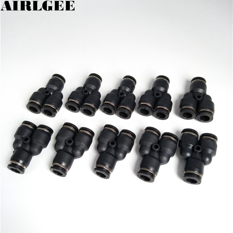 10Pcs Black Y Shaped 3 Ways 8mm Pneumatic Piping Quick Joint Fittings Connector купить в Москве 2019