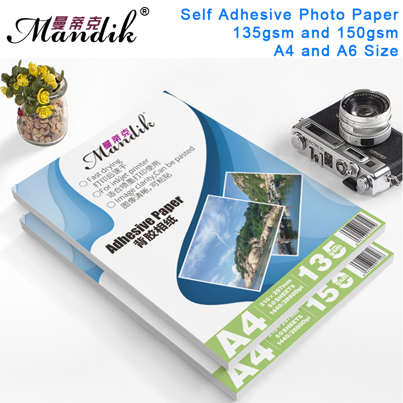 135g 150g A4 50sheets A6 100sheets Self Adhesive Inkjet Printing With Back Glue Sticker Photo Paper