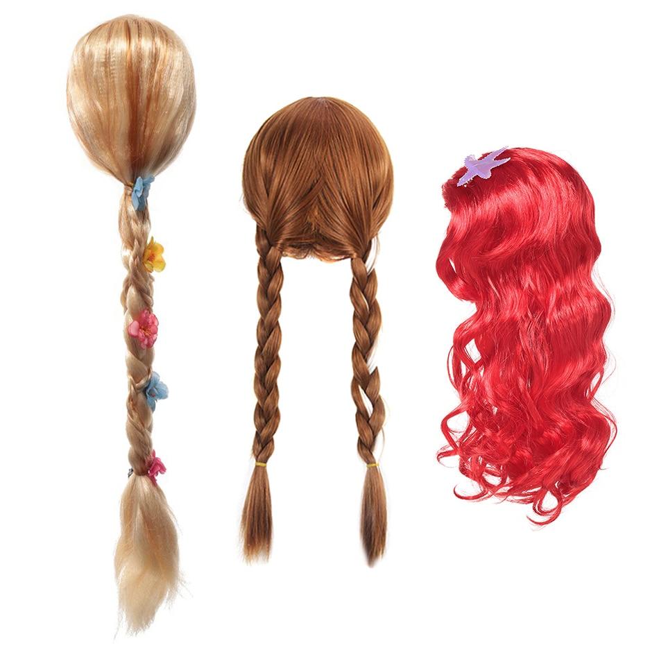 Girls Fairy Tale Princess Synthetic Wavy Wig Children Elsa Belle Rapunzel Moana Aurora Anna Mermaid Party Braid Cosplay Hair Wig