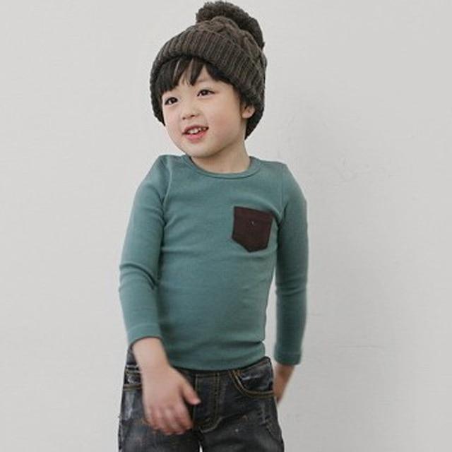5 Colors Children Clothes Girl Boy Long Sleeve Cotton O-Neck T Shirts 2019 Kids Clothing Tops Basic Pocket Decor T-Shirt 2