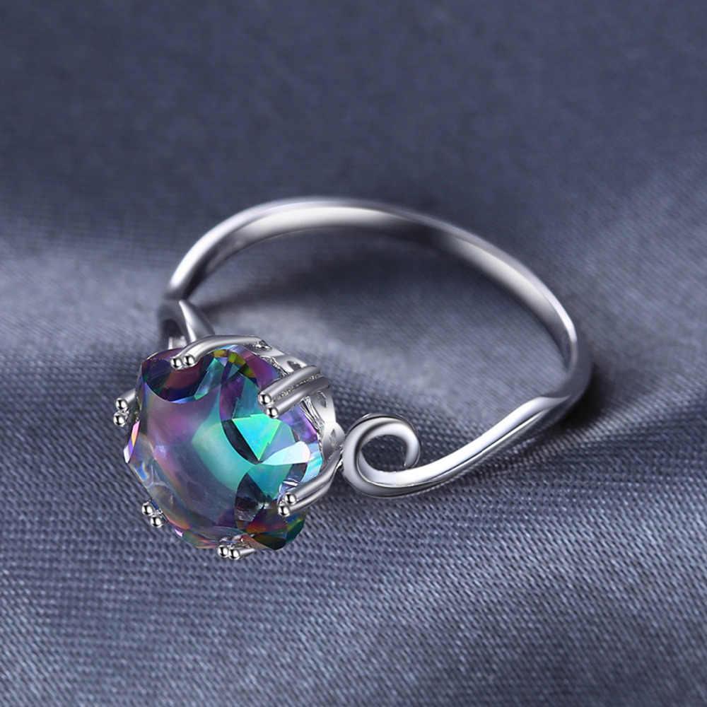 Ювелирные изделия, 3ct, подлинное Радужное мистическое топазовое кольцо, 925 пробы, серебряные кольца для женщин, обручальное кольцо, серебро 925, драгоценные камни, ювелирные изделия