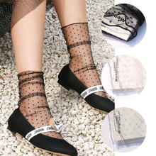 Sexy Black Tulle Socks For Women Thin Transparent Dot Long Breathable Summer Funny Female Dress Hosiery Street