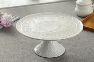 Image 4 - Ceramic Relief Compote Cake Stand Plate with Cover Decorative Porcelain Stem Dessert Serving Tray Fruits Dinnerware Utensil