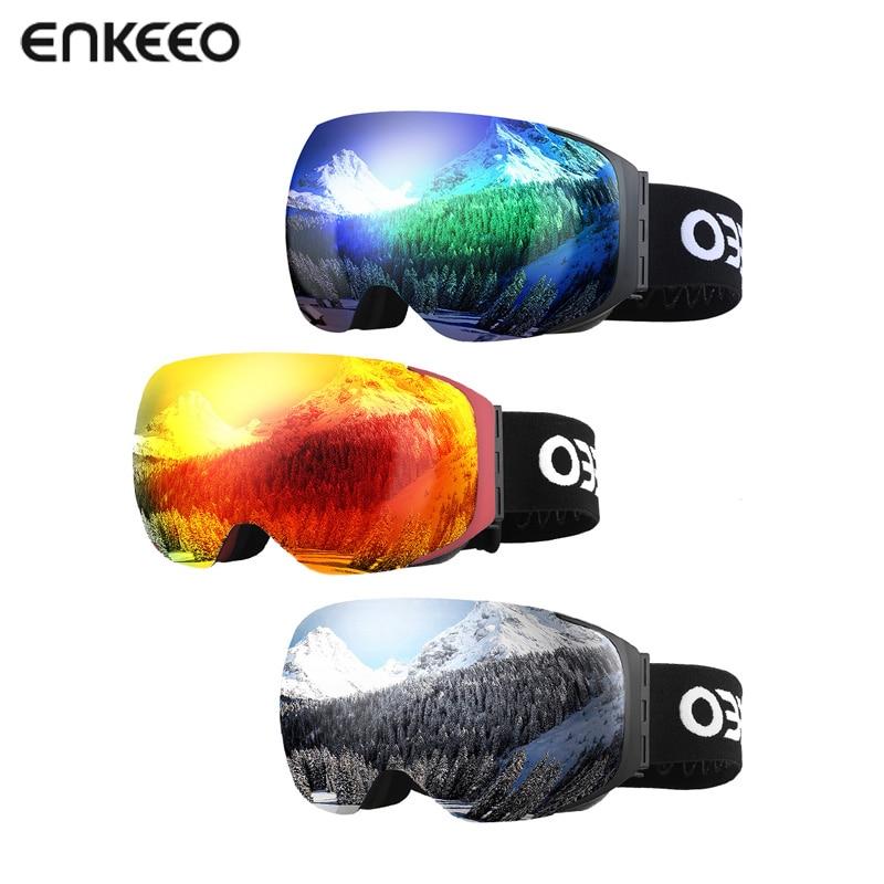 1f4e30f828e Enkeeo Ski Goggles Detachable Dual Layer UV400 Anti-fog Glasses Skiing Men  Women Snow Snowboard Goggles Frame Ski Eyewear Glass