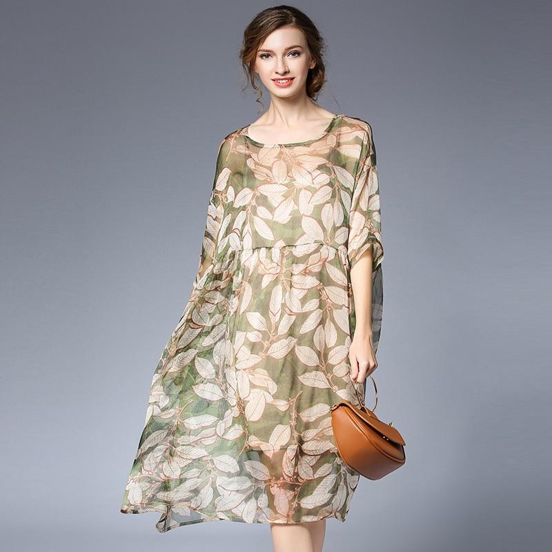 4xl femmes en mousseline de soie robe d'été grande taille européenne femme vêtements marque lâche fleur imprimer décontracté brève mode dressfemelle