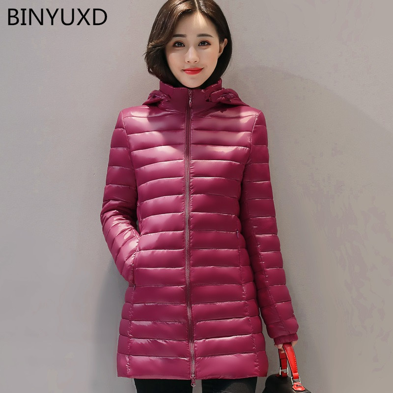 BINYUXD Wadded jacket thin medium-long fashion winter coat women stand collar down cotton-padded parka casual outerwear clothing winter thickening women parkas women s wadded jacket outerwear fashion cotton padded jacket medium long loose casual parka c1142