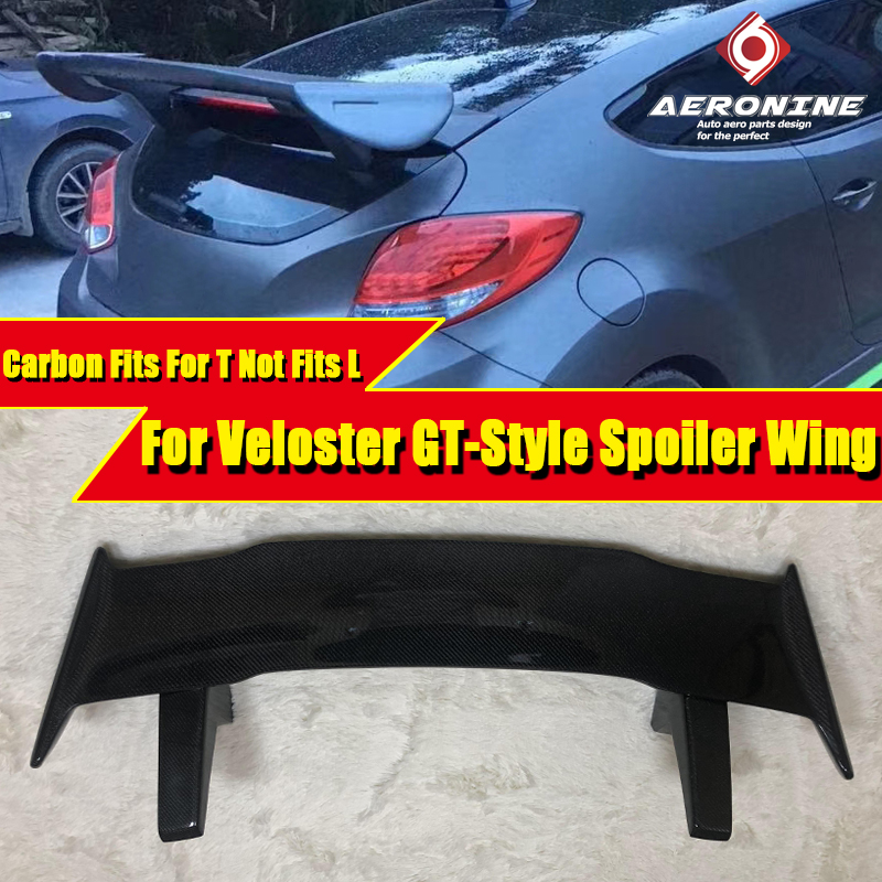Car-styling For Veloster GT-Style Body Carbon Fiber Glass Rear Trunk Spoiler Lip Wing  Fits T Not L Roof