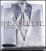 Hot seller!!! man's formal suit silver swirl  waistcoat