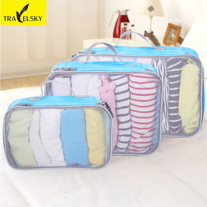 Travelsky Travel Suitcase Closet Divider Container Storage Bag Set for Clothes Tidy Organizer Packing Cubes Laundry Bag